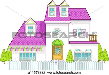 Clip Art of dwelling, family, architecture, construction, villa.