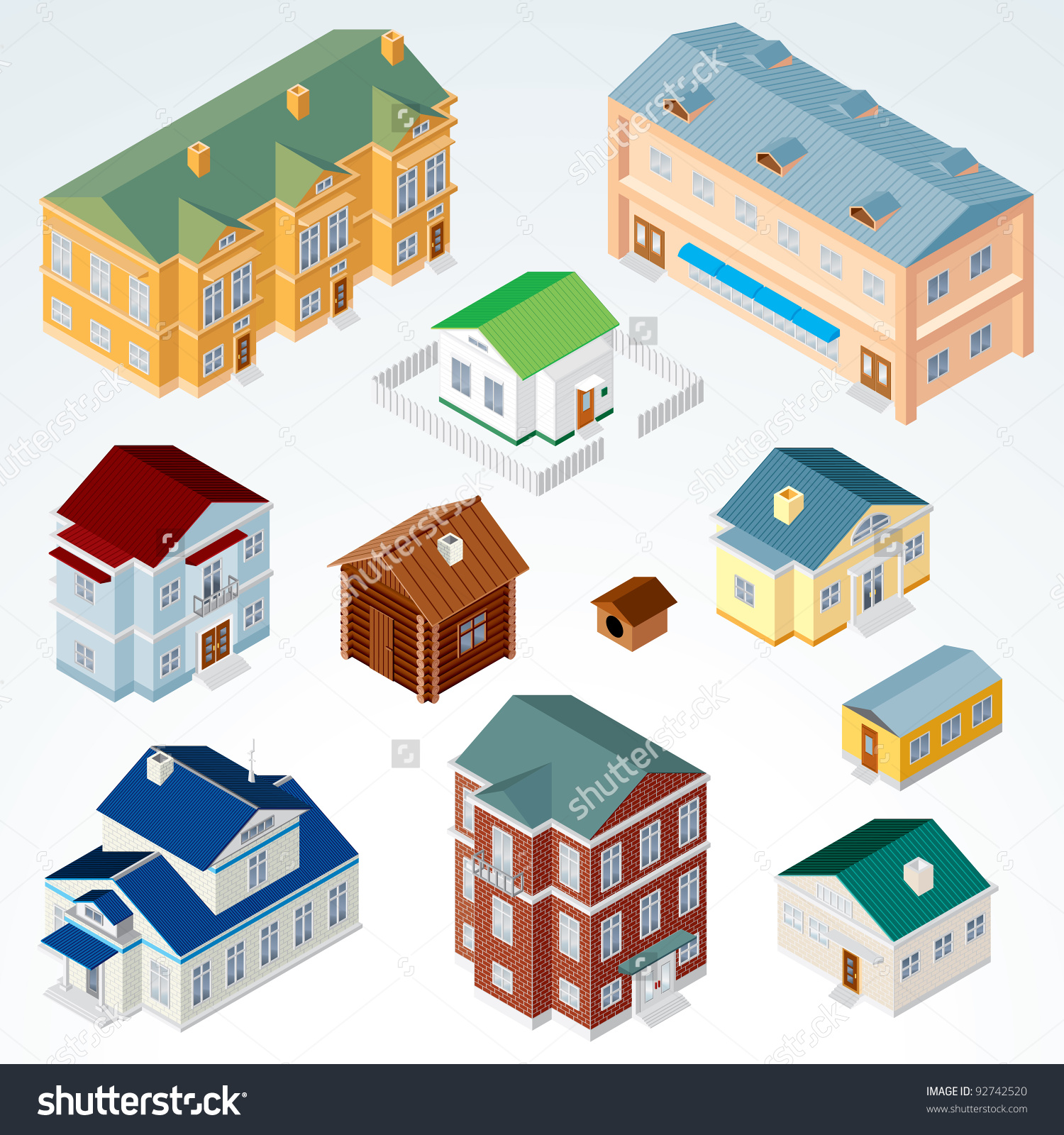 Set Isolated Isometric Buildings Illustration Various Stock Vector.
