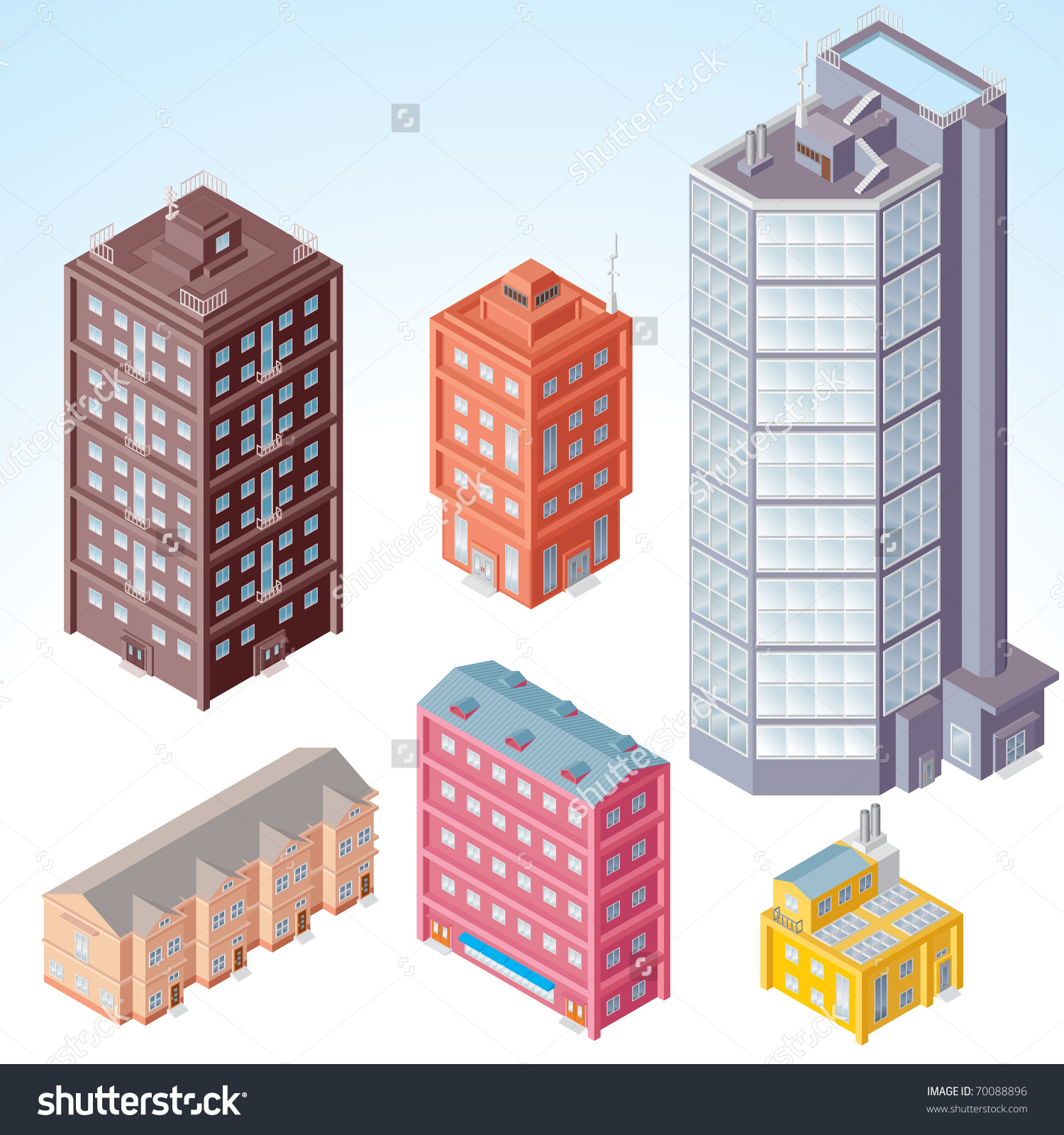 Set Isolated Modern City Buildings Isometric Stock Vector 70088896.