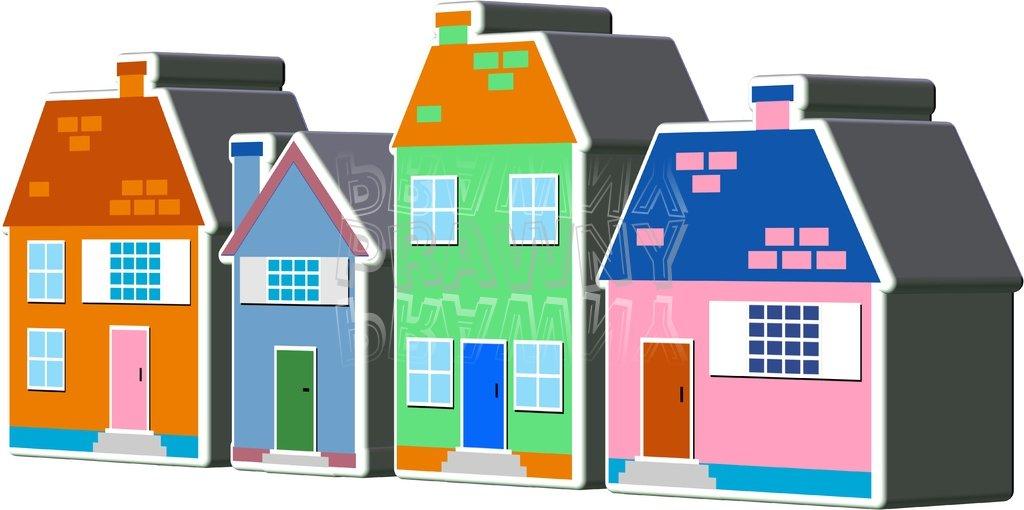 3d Village Town Houses Clipart.