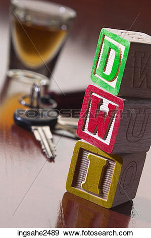 Stock Photograph of Shot glass car keys and DWI blocks ingsahe2489.