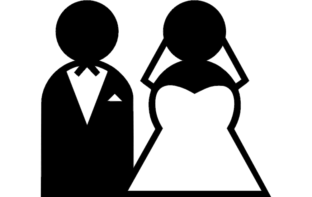Bride and Groom Clipart dxf File Free Download.