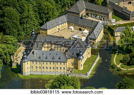 "Stock Image of ""Aerial view, Schloss Dyck moated castle, Juchen."