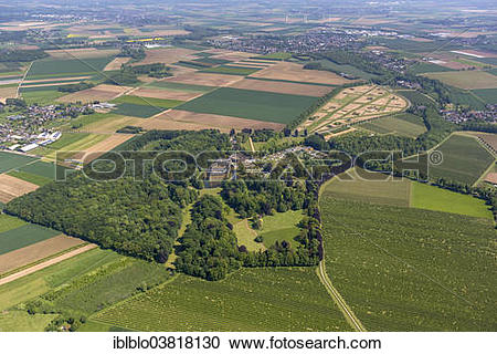 "Stock Photography of ""Aerial view, Schloss Dyck moated castle."
