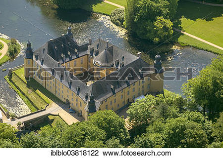 "Stock Photo of ""Aerial view, Schloss Dyck moated castle, Juchen."