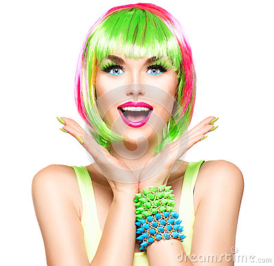 Girl With Colorful Dyed Hair Stock Photo.