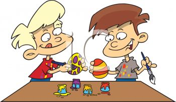 Dyeing easter eggs clipart.