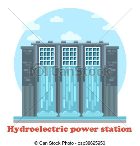 Clipart Vector of Large hydroelectric power station and water.