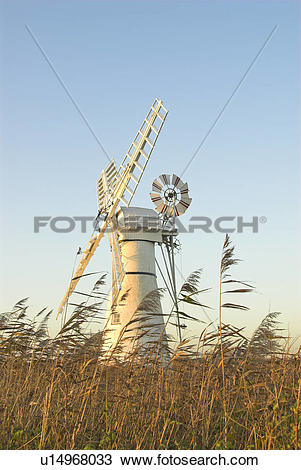 Stock Photo of England, Norfolk, Thurne. Thurne Dyke drainage mill.