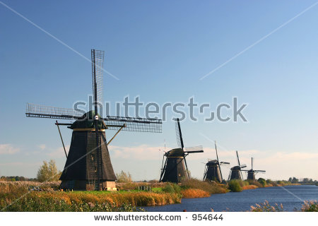 Dutch Windmills On Dyke Stock Photo 954644 : Shutterstock.