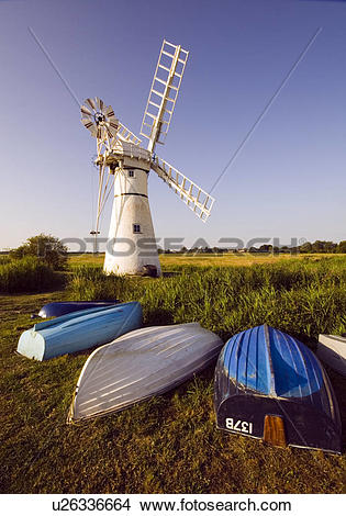 Stock Photo of England, Norfolk, Thurne Mill, Thurne Dyke Wind.