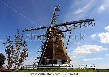 Dutch Dyke Windmill Stock Photos, Royalty.