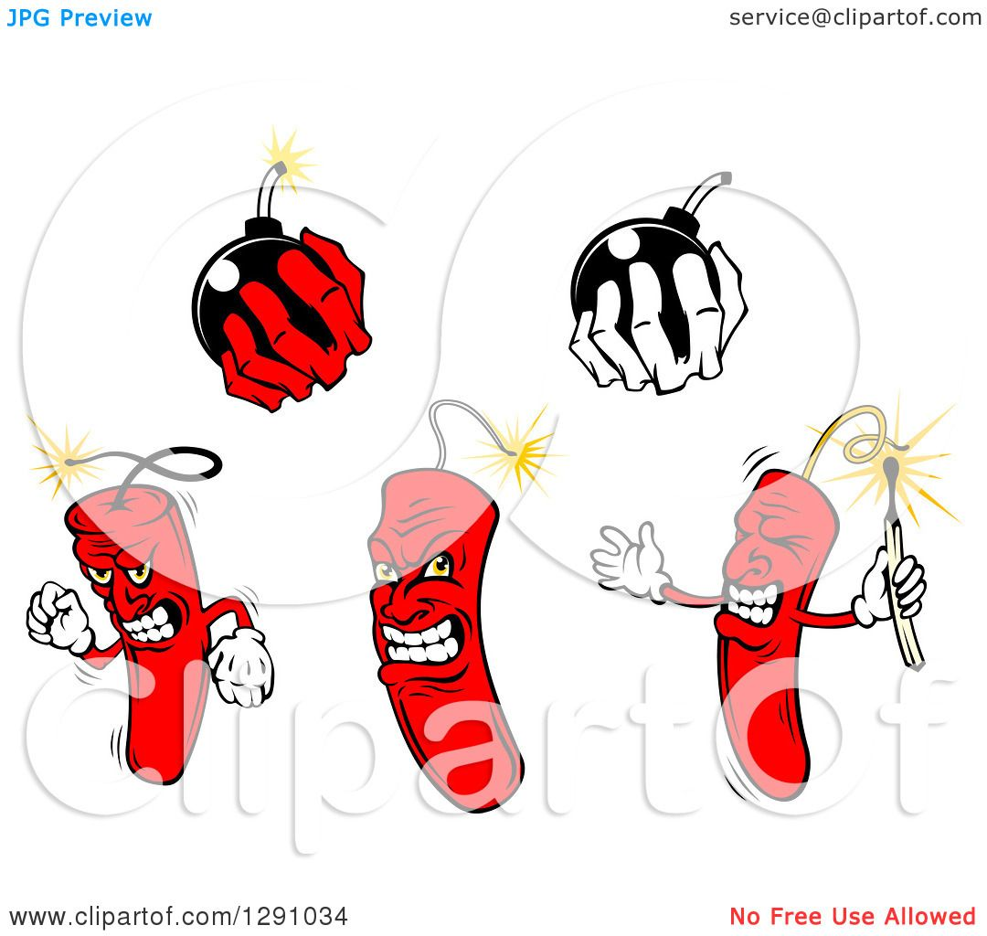 Clipart of Dynamite Stick Characters and Hands Holding Bombs.