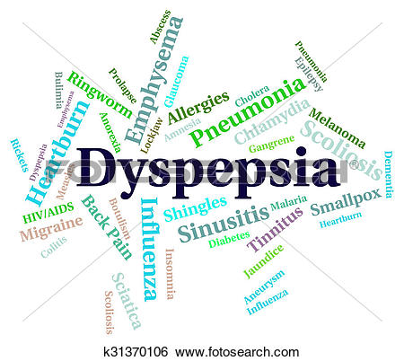 Stock Illustration of Dyspepsia Word Indicates Ill Health And.