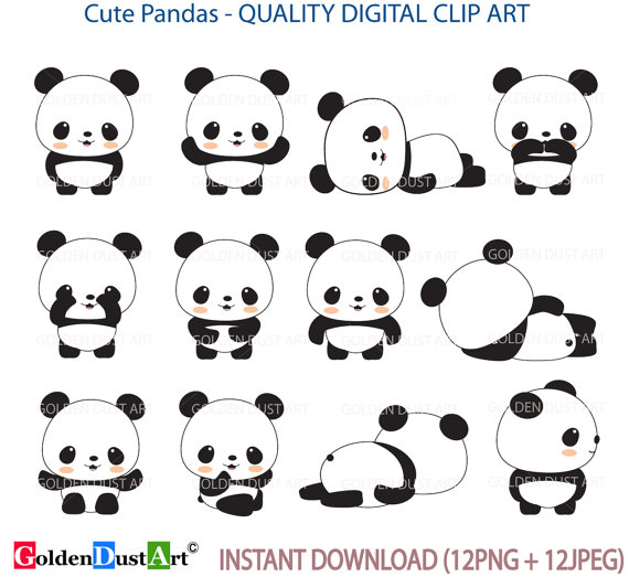 20% OFF SALE Pandas Clip Art Panda Clip Art Panda Clipart.