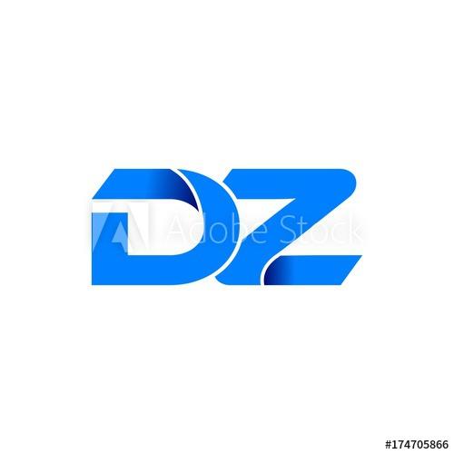 dz logo initial logo vector modern blue fold style.