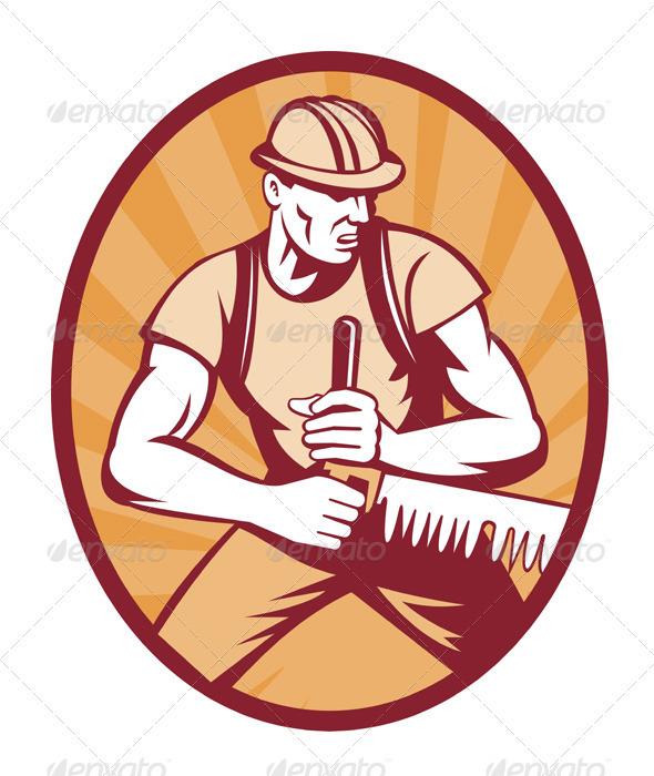 Sawyer Lumberjack Sawing Crosscut Saw by patrimonio.