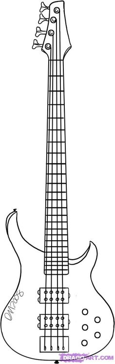 Bass guitar clipart black and white.