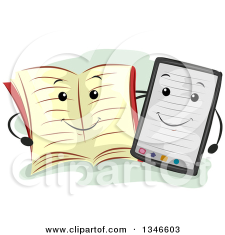 Clipart of a Happy Book Mascot and Ebook Reader.