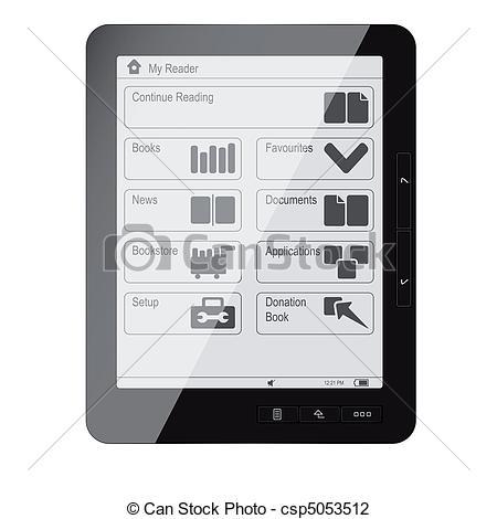 Vector Illustration of Ebook ereader.