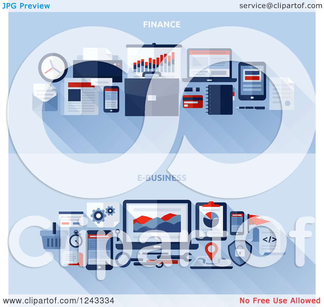Clipart of Finance and E Business Items and Shadows with Text on.