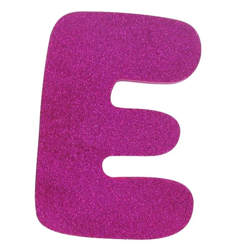Hobbycraft Glitter Foam Letter E Pink.