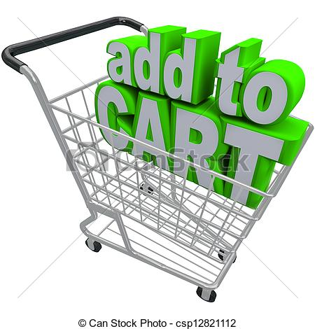 Clipart of Add to Card Words Shopping Pushcart e.