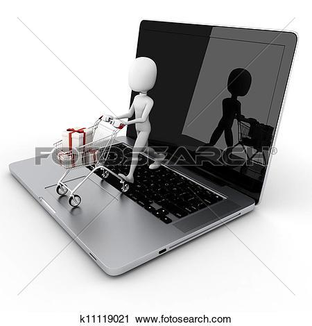 Clipart of 3d man online shopping, e.