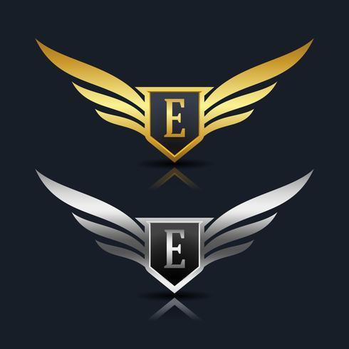 Wings Shield Letter E Logo Template.