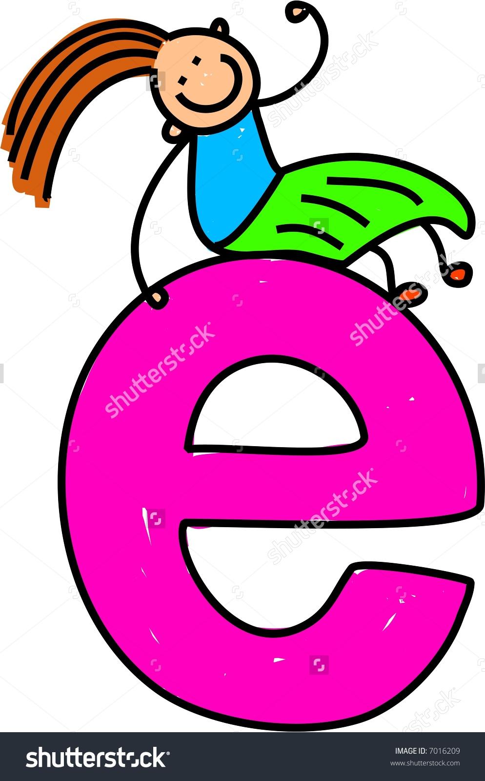 Letter E Girl Lowercase Version Stock Vector 7016209.