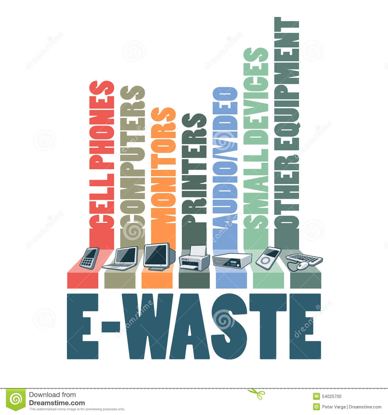 Electronic Waste Recycling Stock Illustrations.