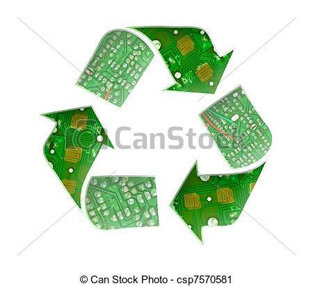 Clipart of Recycle logo, Electronic waste concept csp7570581.