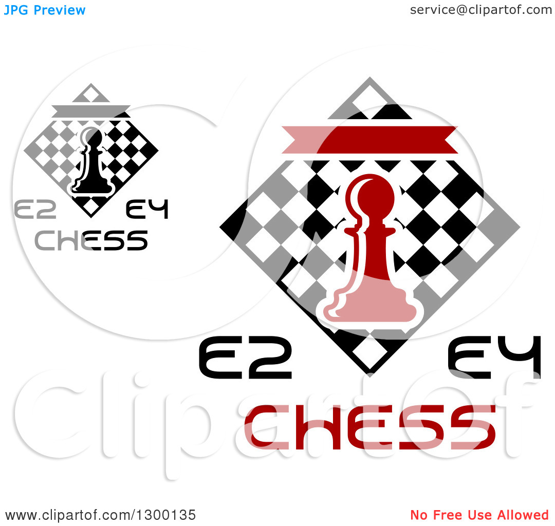 Clipart of E2 and E4 Chess Tournament Designs with a Pawn over.