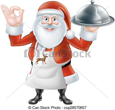 Clipart Vector of Santa Chef Christmas dinner 2015 E2 [Converted.