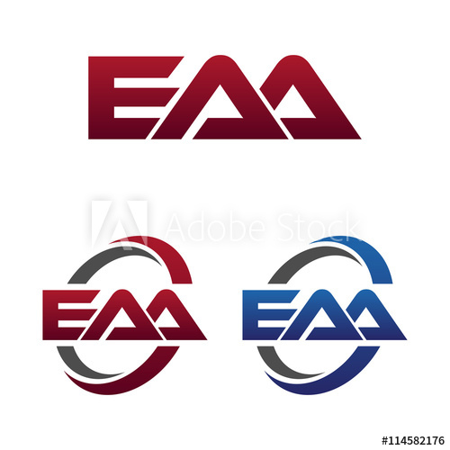 Modern 3 Letters Initial logo Vector Swoosh Red Blue eaa.
