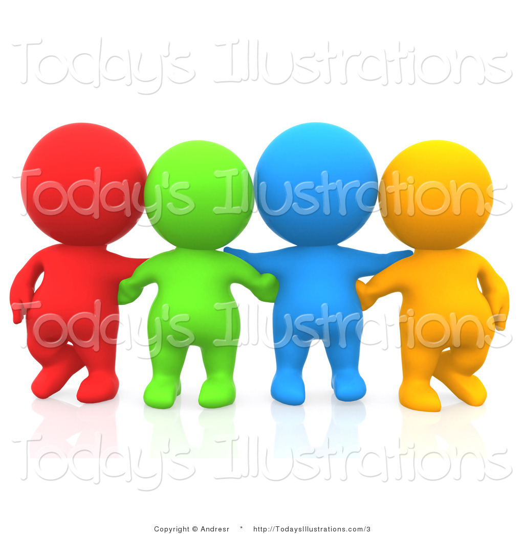 Clipart of 3d Colorful People with Their Arms Around Each Other by.