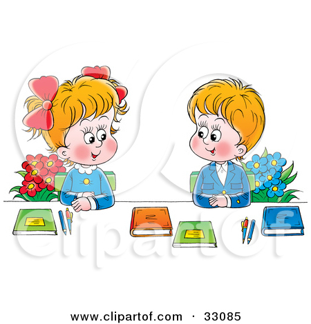 Two Students Talking Clipart