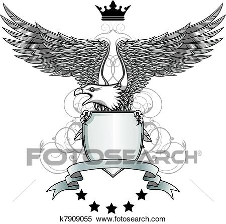 Eagle with shield and emblem Clipart.