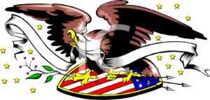 Clipart Picture of an American Eagle With Crest and Banner.