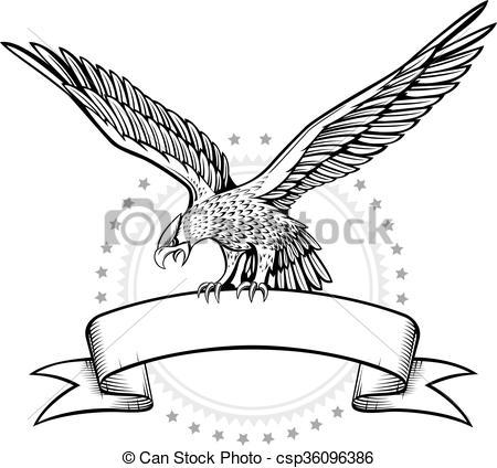 Vector of Spread wing eagle banner csp36096386.