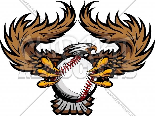 Eagle Baseball Logo Graphic Vector Clipart.