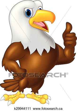 Eagle cartoon giving thumb up Clipart.