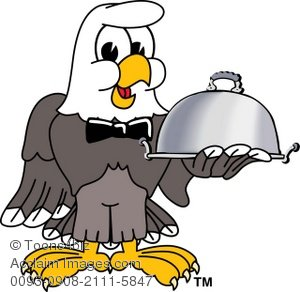 Clip Art Illustration of Bald Eagle Serving As a Waiter.