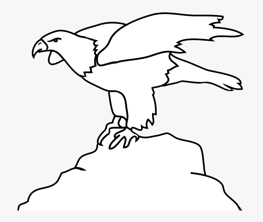 Bald Eagle Outline On Rock.