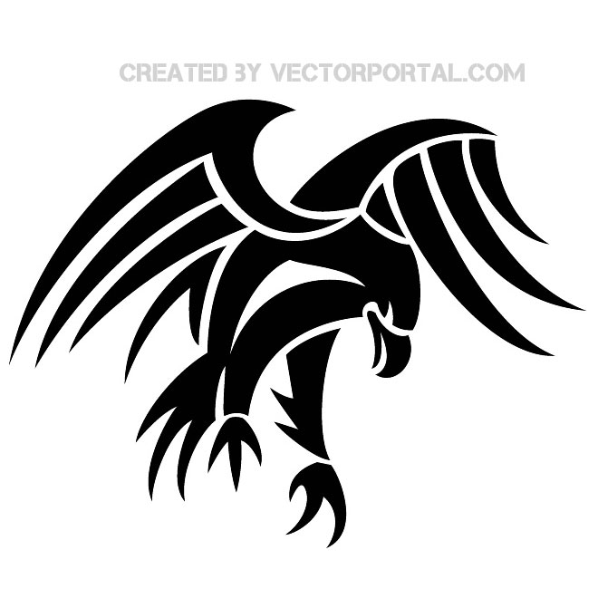 Tribal Eagle Clip Art Free Vector.