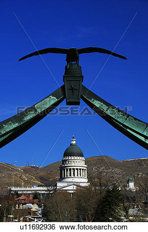 Stock Images of State Capitol building with the eagle gate above.