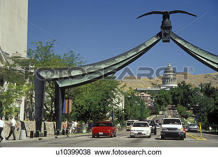 Pictures of Salt Lake City, UT, Utah, Eagle Gate, downtown, State.