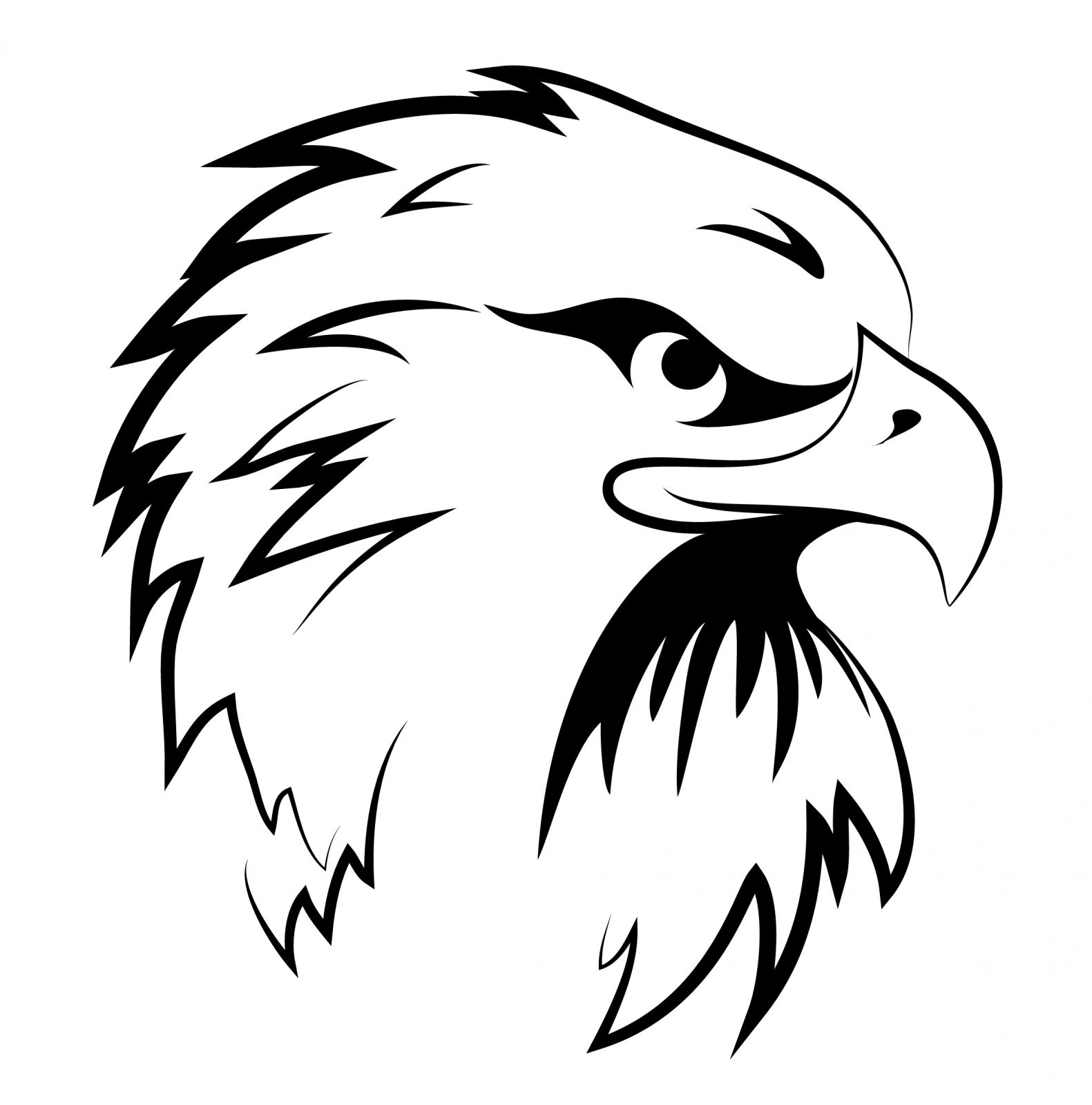 Black and White Eagle Head Clipart.