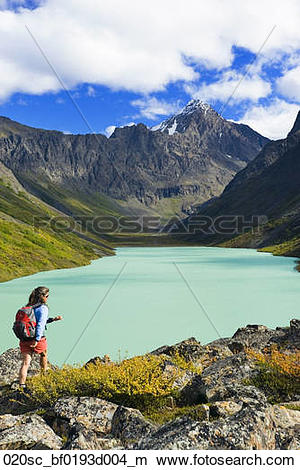 Stock Photo of Female hiking at Eagle Lake in Chugach State Park.
