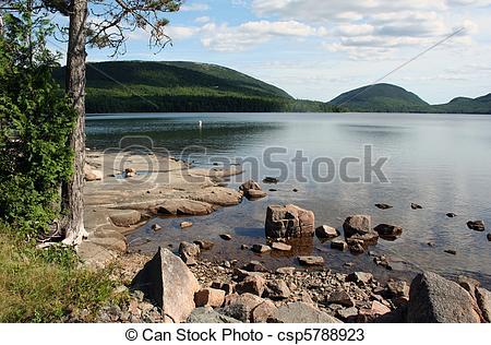 Stock Photos of Waterfront scenery shore of Eagle Lake Acadia.